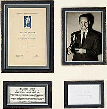 A Tom Finney signed 1957 Footballer of the Year montage,  the mount con