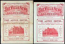 Two Aston Villa v Sunderland programmes,  7th October 1911 and 7th Janu