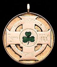A 9ct. gold & enamel Irish Football Association medal awarded to a linesman