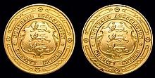 Two 9ct. gold F.A. Charity Shield medals won by A. G. Bower,  both insc