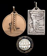 1930 World Cup: two Uruguayan medals and a badge,  i) a rectangular sil
