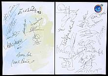Two autographed sheets for the opening of the