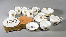 A Football Association coffee set,  Royal Worcester bone china, compris