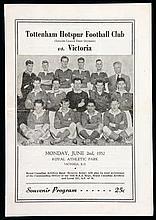 A Victoria (British Columbia) v Tottenham Hotspur programme played at Royal