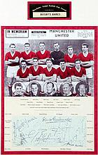 An autographed Manchester United Busby Babes display,  mounted with tit