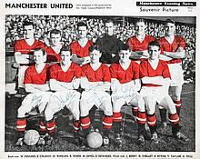 An autographed Manchester Evening News souvenir picture of the Manchester U
