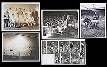 Five press photographs featuring the Manchester United Busby Babes in 1958,
