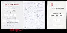 An autographed Arsenal Dinner and Dance menu in celebration of the 1971 F.A