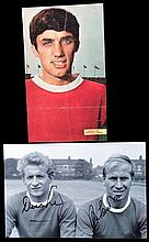 The autographs of George Best, Bobby Charlton & Denis Law,  a signed fu