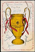 An autographed Manchester United 1968 European Cup Final celebration banque