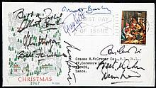 A Christmas 1967 postal cover signed by the Manchester United team,  in