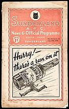 Sunderland v Derby County programme 26th August 1939