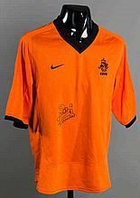 A Patrick Kluivert signed orange Holland No.9 replica jersey,  signatur