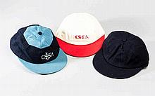 A trio of cricket caps that belonged to the England 1966 World Cup winning