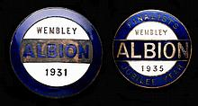Two enamelled metal West Bromwich Albion F.A. Cup Final badges,  simila
