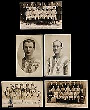 Five Huddersfield Town real photo postcards including signed studio portrai
