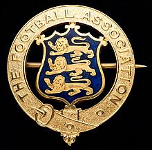 A 9ct, gold & enamel Football Association councillor's medal,  with bro
