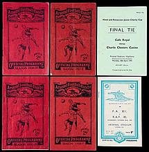 Programmes for six matches played at Highbury,  England v The Rest Inte
