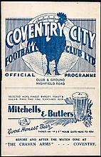 Coventry City v Manchester United programme 30th August 1937