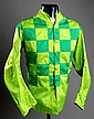 An original jockey's jacket in the green & light