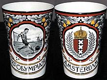 A Dutch pottery beaker commemorating the football