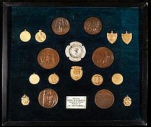 A display of electrotypes of sports medals &