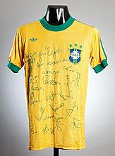 Rivelino: a team-signed yellow Brazil No.10