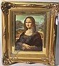 ROSENTHAL HANDPAINTED PORCELAIN PLAQUE Depicting Mona Lisa against an expansive landscape and lake scene, signed verso Rosenthal, titled ''Mona Lisa La Gioconda Von Leonardo Da Vinci 1452-1519'', mounted in a gilt wood frame, approximate image 8,  Leonardo