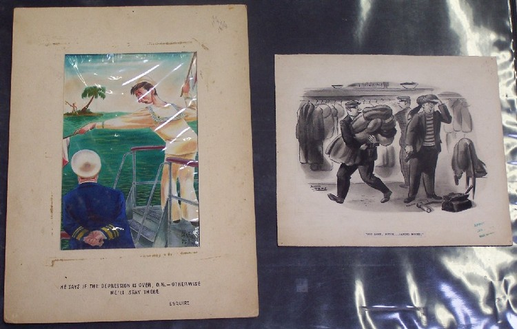 DEAN, ABNER (Born 1910 American) Two works, original Abner Dean illustration for Esquire magazine, approximate image 11 3/4'' x 8'', together with original illustration by Louis Samme, watercolor on illustration board, approximate page size 11 3/4''