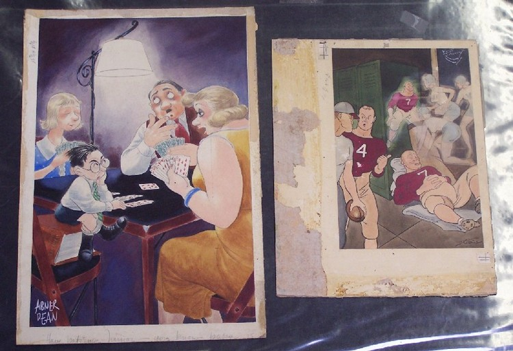 TWO UNFRAMED WORKS Original watercolor on illustration board by Abner Dean (Born 1910 American), approximate image size 17 3/4'' x 12'', and one by Collins, approximate image 12'' x 8 1/4''.