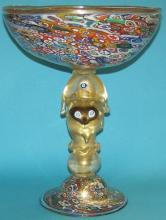 *MURANO ART GLASS FOOTED BOWL