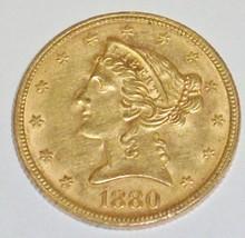 *1880 $5 GOLD PIECE