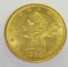 *1908 $5 GOLD PIECE