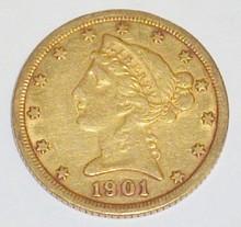 *1901 $5 GOLD PIECE