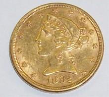 *1882 $5 GOLD PIECE