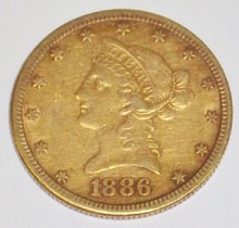 *1886 $10 GOLD PIECE