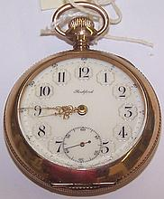 *ROCKFORD GOLD PLATED OPEN FACE POCKET WATCH