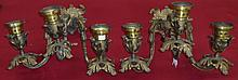 *PAIR OF FRENCH STYLE BRASS WALL SCONCES