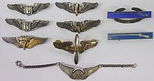 *9 STERLING SILVER U.S. MILITARY BADGES & BRACELET