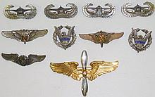 *10 STERLING SILVER U.S. MILITARY PINBACK BADGES