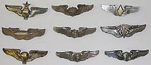 *9 STERLING SILVER U.S. MILITARY PINBACK BADGES