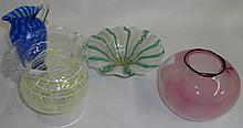 *4 PIECES OF ART GLASS