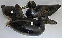 *3 CARVED AND PAINTED WOOD DUCK DECOYS