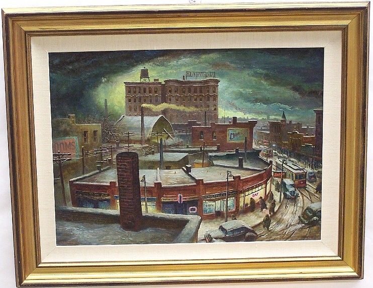 ***ADDISON, ROBERT WILLIAM (Born 1924 American) ''Winter Night Circa 1949-1950'', framed oil on canvas, approximate image 20'' x 28'', frame 29'' x 37'', signed lower left, dated 1950, also bears artist biography and labels from Merrill Chase Art