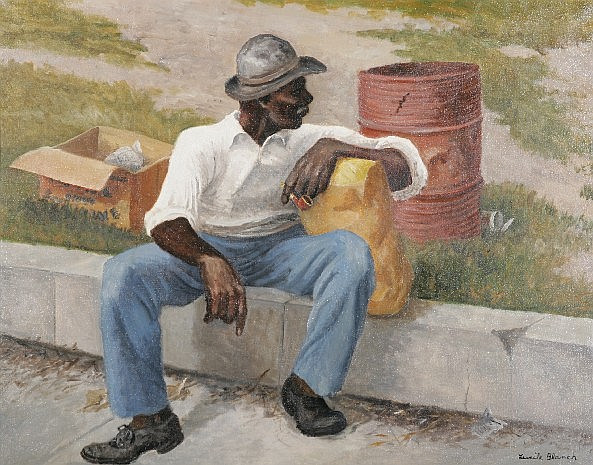 ***BLANCH, LUCILE 1895-1983 American) ''Waiting'', framed oil on canvas, approximate image 30'' x 38'', frame 37 1/2'' x 45 1/2'', signed lower right, deaccessioned from a Midwestern museum, a gift of the artist.