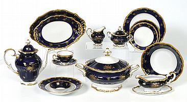 57 pc WEIMAR COBALT & GOLD FINE CHINA