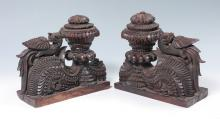 SOUTHEAST ASIAN CARVED DRAGON BOOKENDS