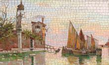 LARGE MICRO MOSAIC VENETIAN CANAL PLAQUE