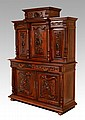 CARVED BLACK WALNUT STEPBACK CUPBOARD