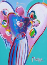 PETER MAX ANGEL WITH HEART MIXED MEDIA